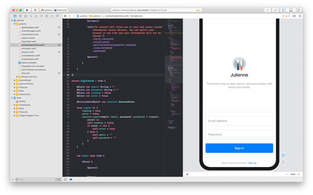 Julienne screenshot in xcode.