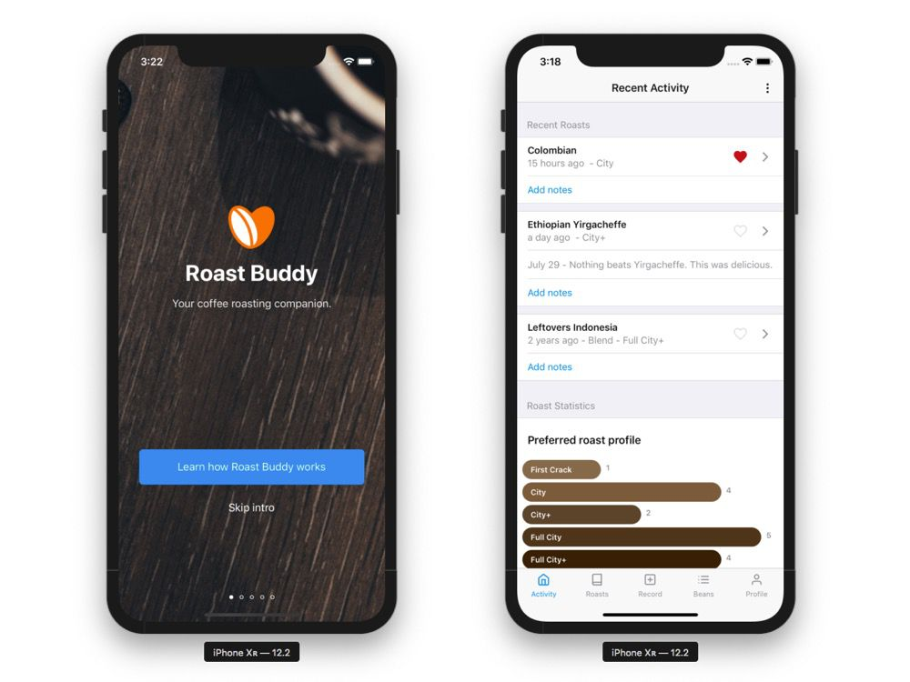 Two screenshots of Roast Buddy.
