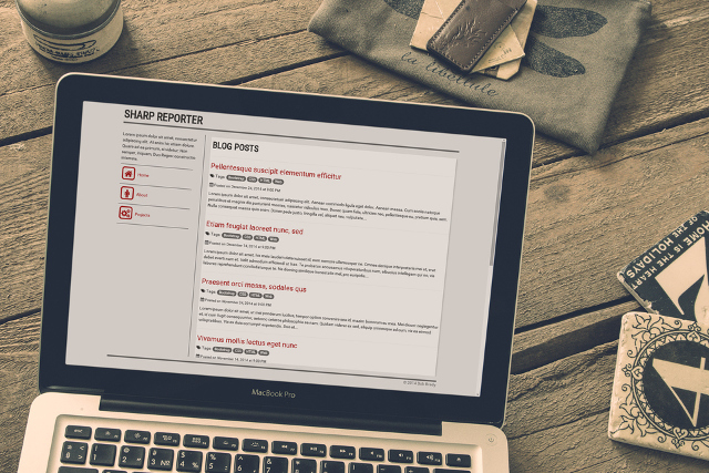 Sharp Reporter Bootstrap Responsive Theme on a Laptop
