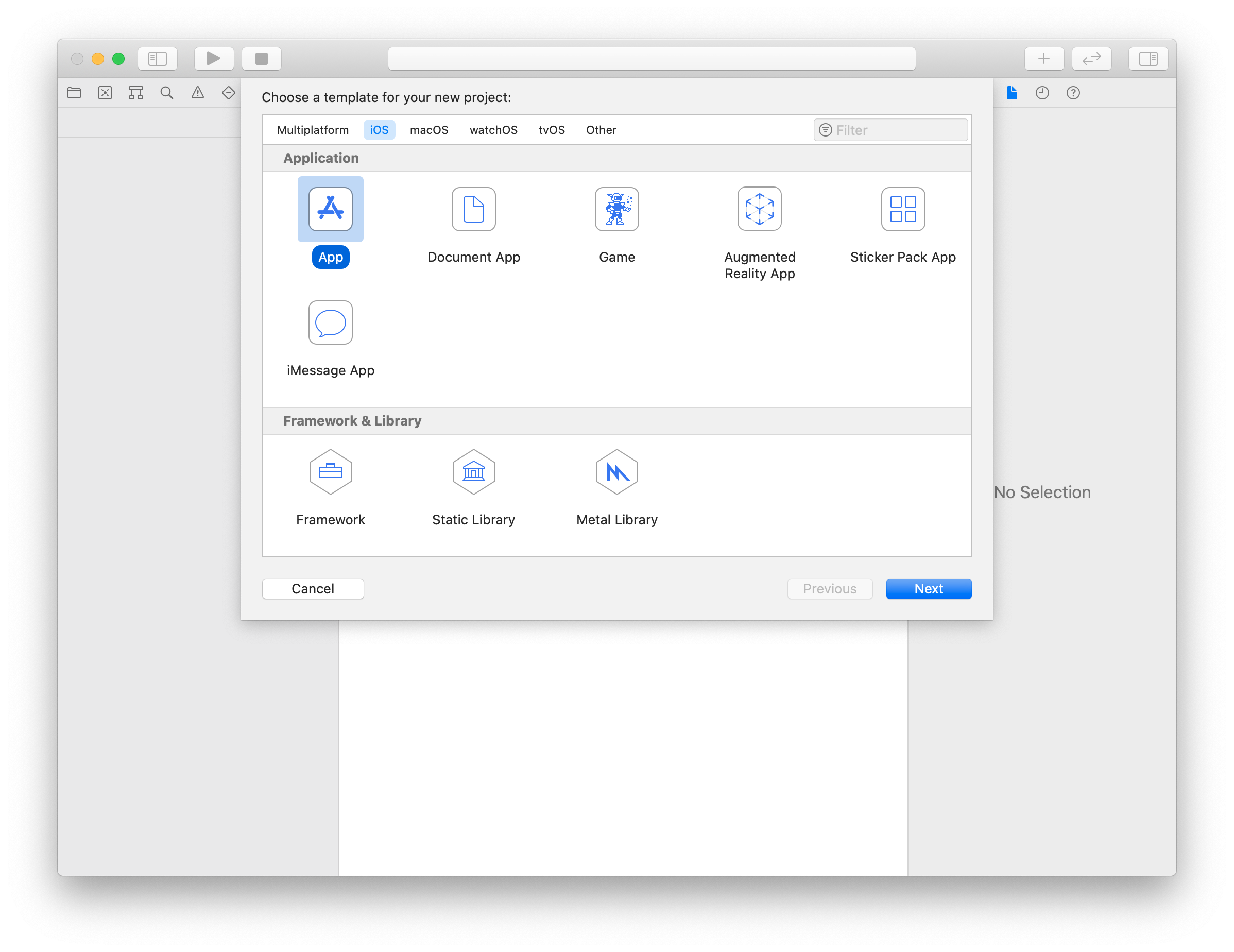 Create your project using XCode