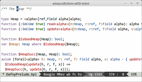 Boogie buffer in Emacs