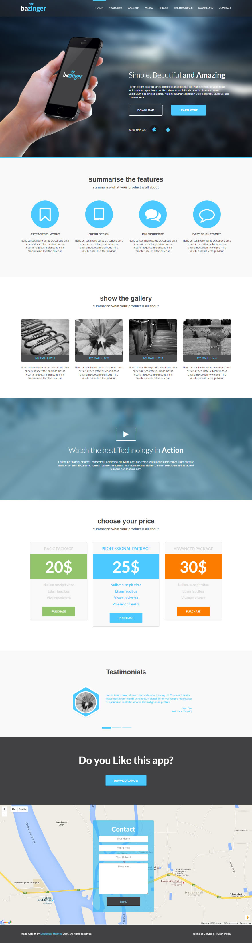 Github bootstrapthemesco bazinger landing page template for Dreamweaver app templates