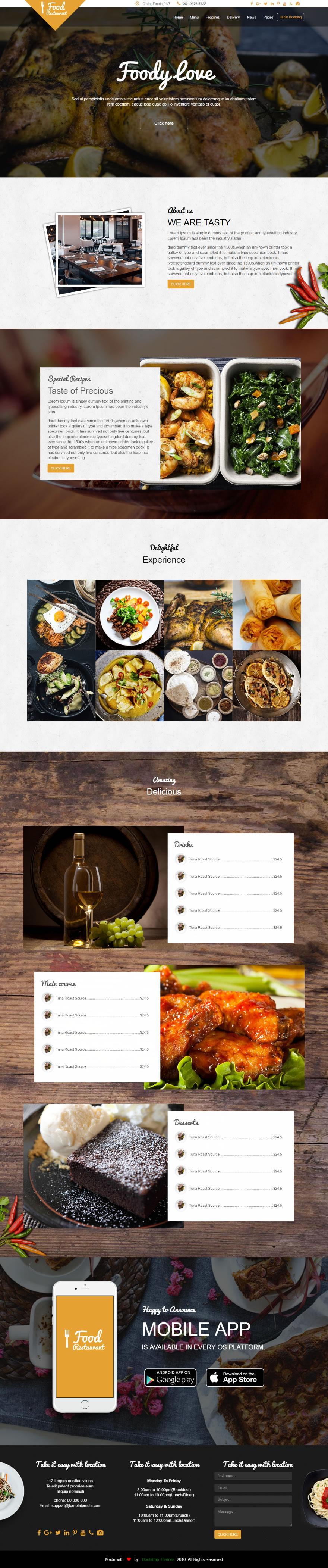 Github bootstrapthemescofood and restaurant free one page food and restorent one page free template maxwellsz