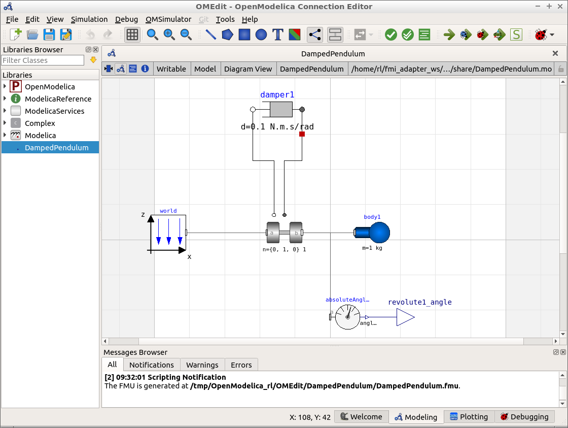 Screenshot of the DampedPendulum model in OMEdit V1.12.0