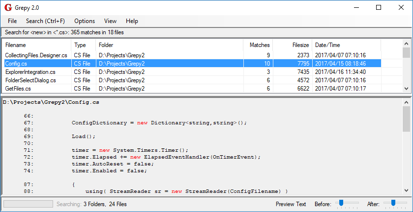 GitHub - botman99/Grepy2: Windows utility to search files