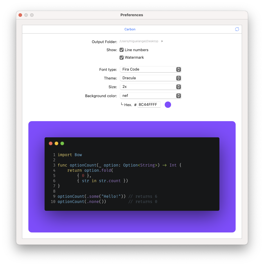 nef: preferences Xcode extension
