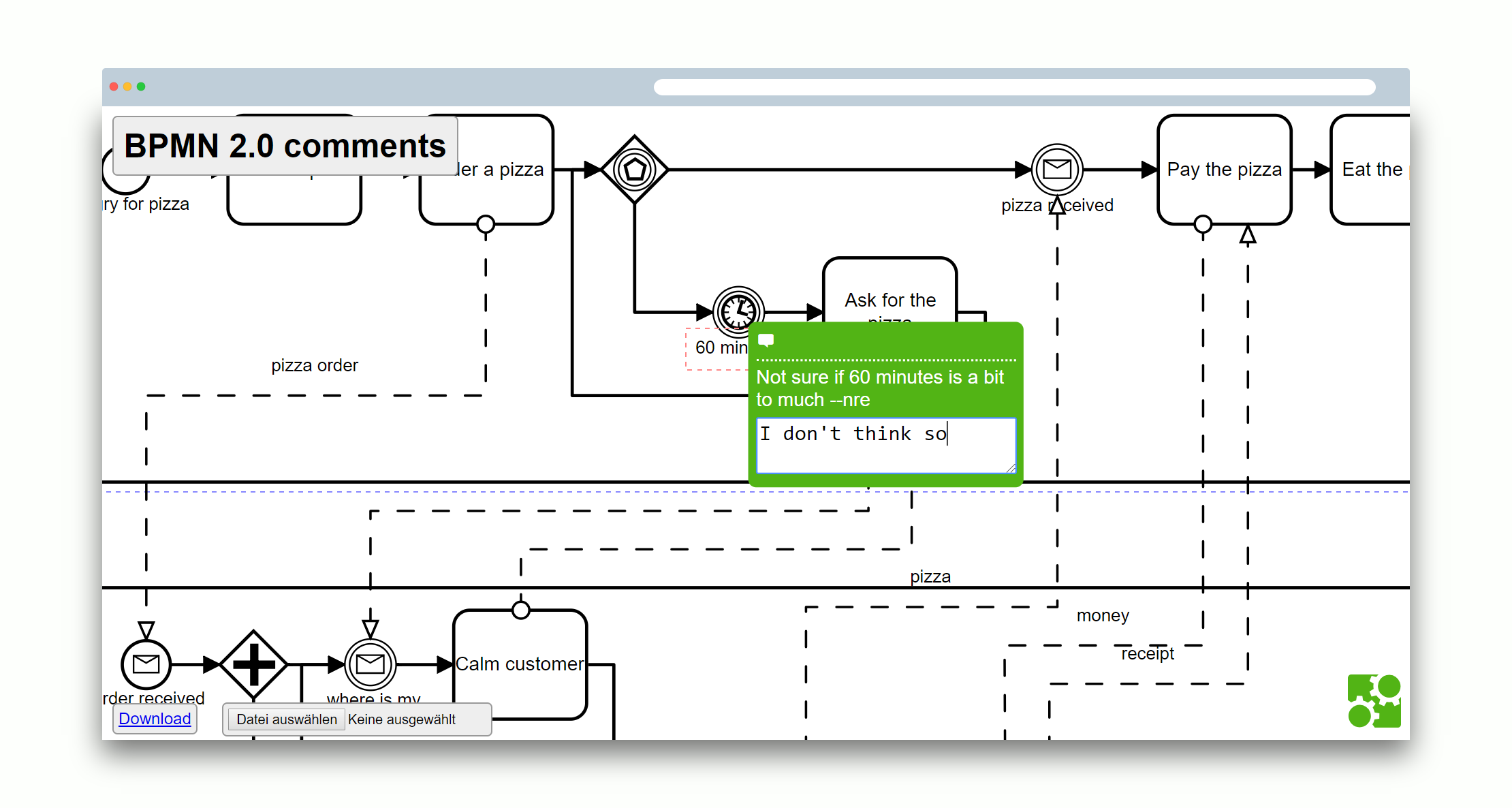 bpmn js examples commenting at master · bpmn io bpmn js examples    demo application screenshot