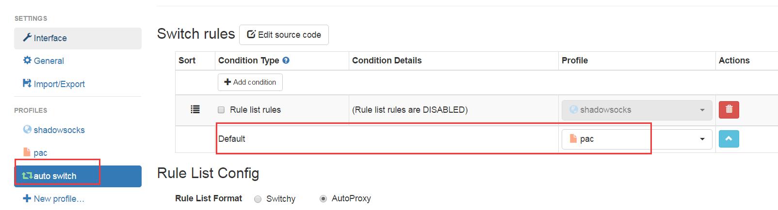自动切换中将pac设置为default