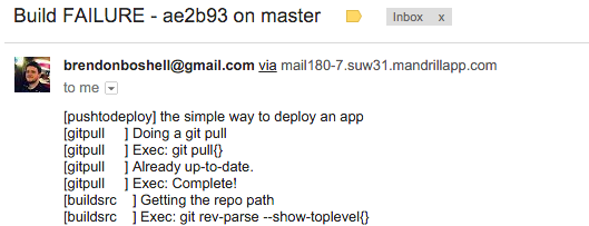 Email notified of a build failure