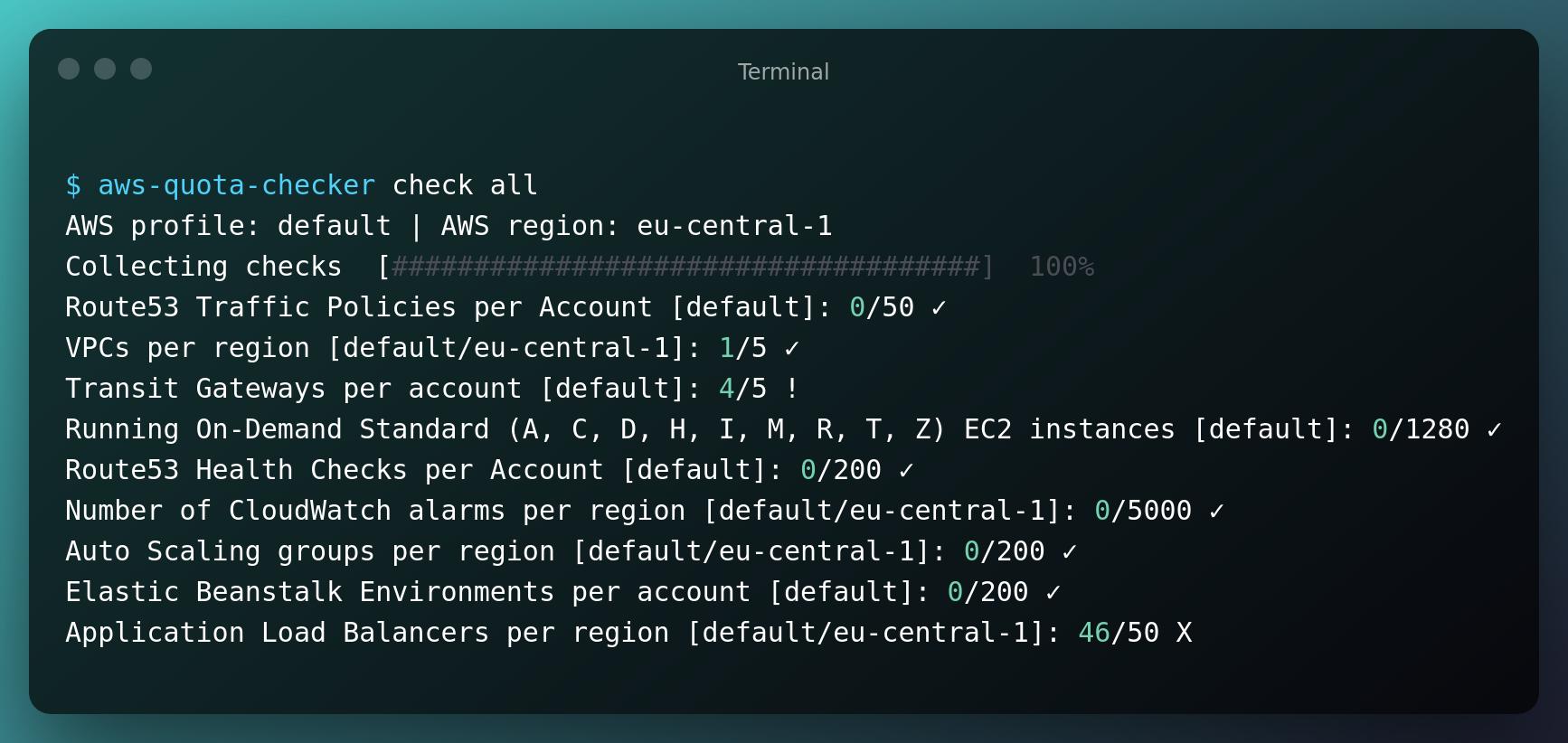 Example output of aws-quota-checker