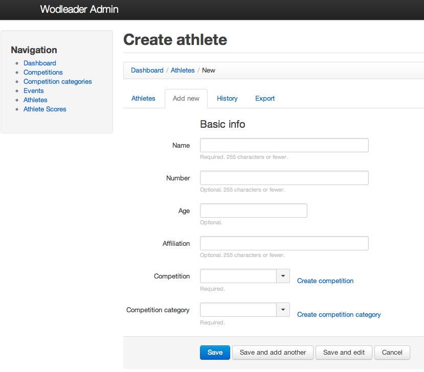 register athletes