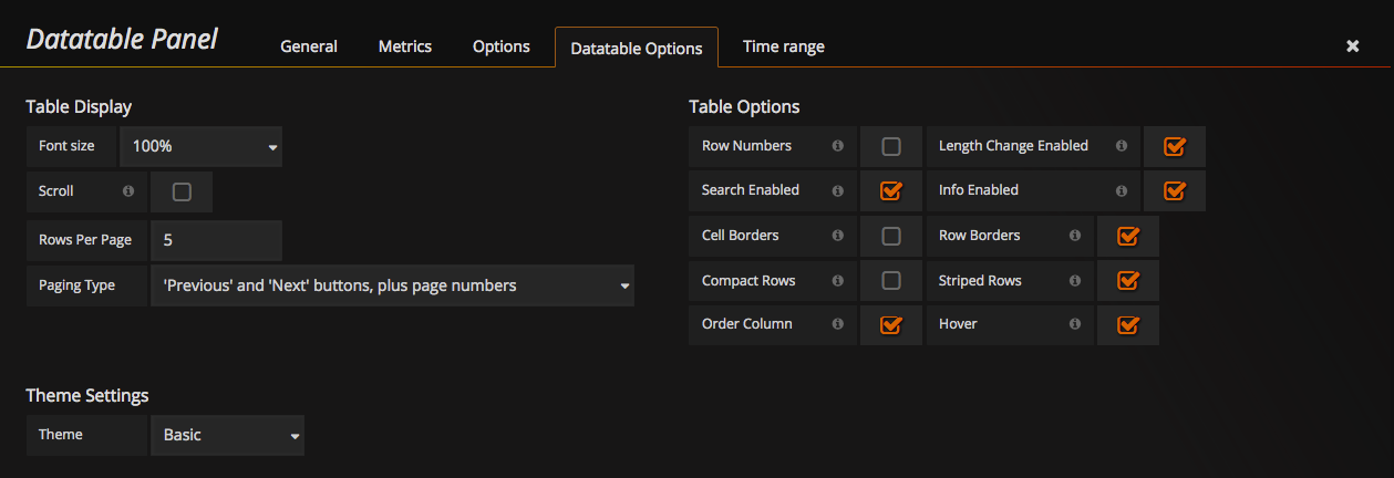 Datatable Options