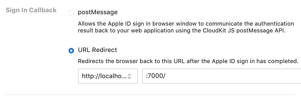 CloudKit Dashboard Callback