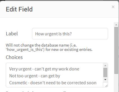 Edit Form Dropdown Box