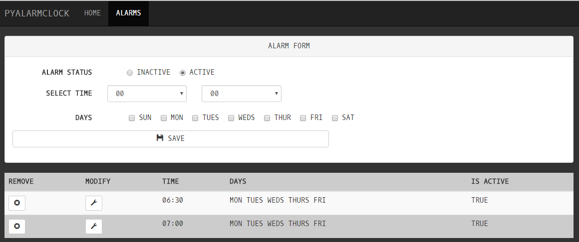 Alarm List Screen
