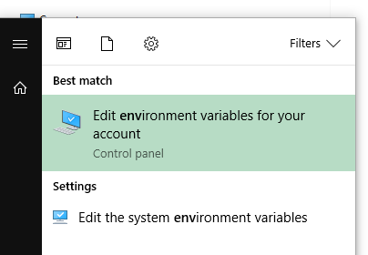 Control panel option for environment variables