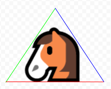A horse enclosed in opposing bounding triangles