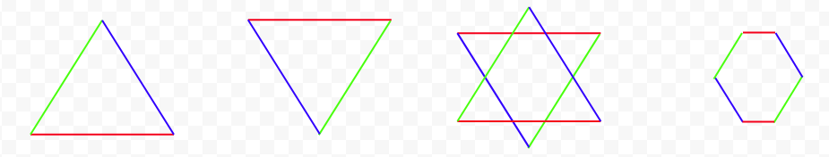 How two triangles make a hexagon