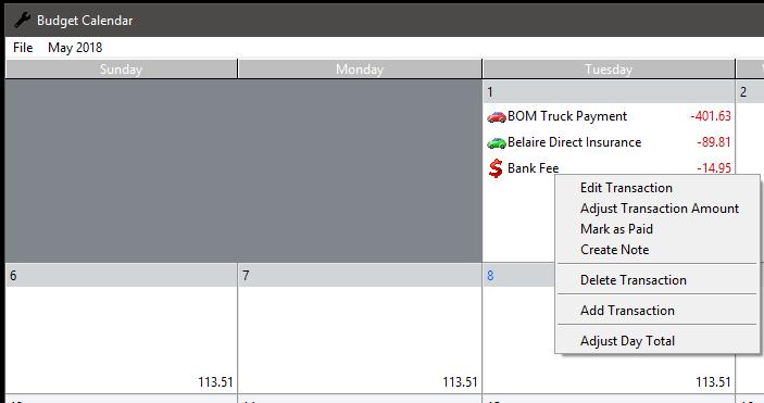 buget calendar