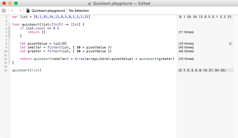 Quicksort Swift Playground with first implementation