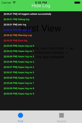 Fullscreen log console