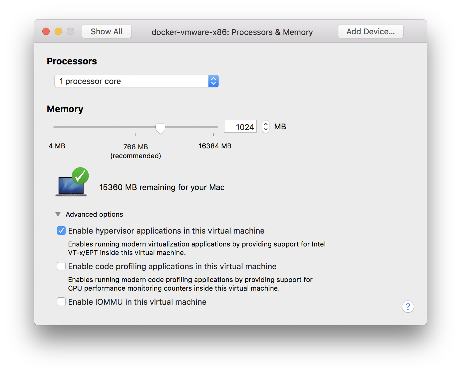 Enable nested virtualization for VMWare Fusion