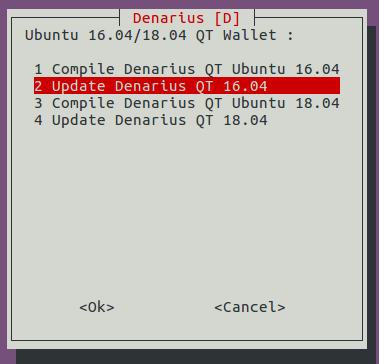 Denarius Installer Menu