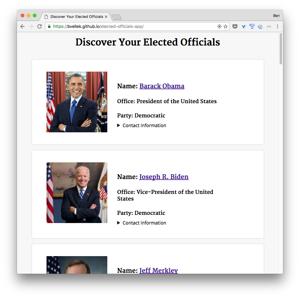 Elected Officials Results Page