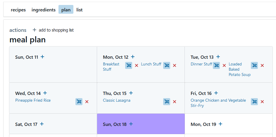 Screenshot of meal plan