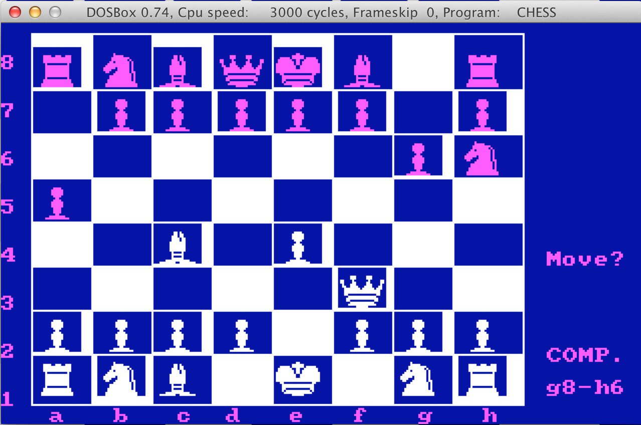 Chess program screenshot