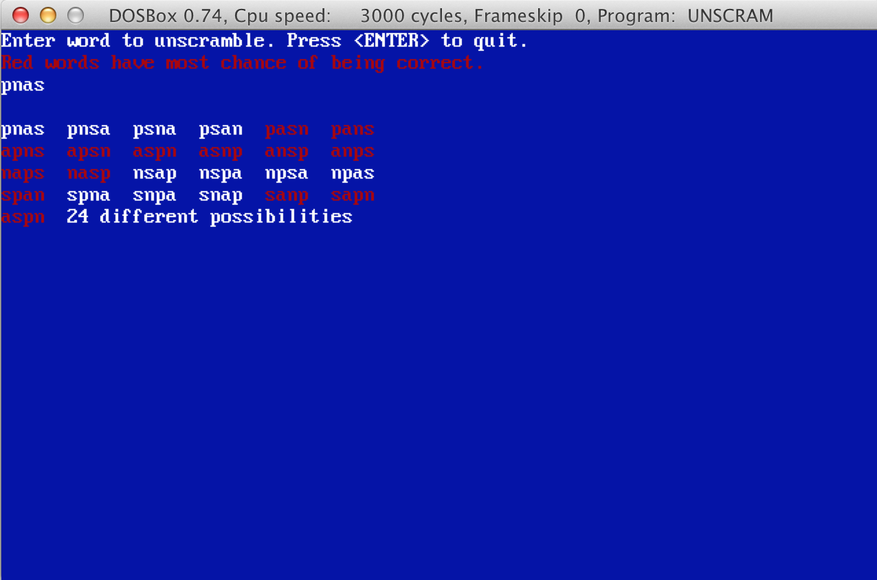 Unscram program screenshot