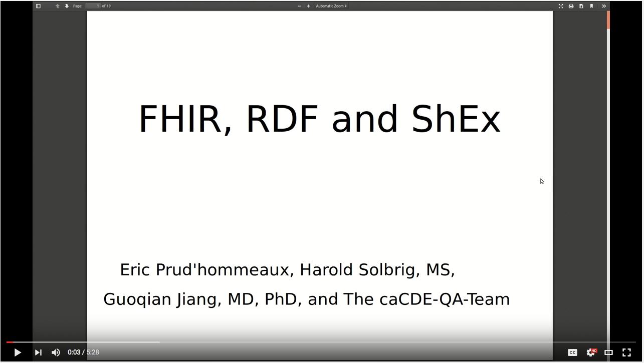 FHIR, RDF and ShEx Demo Video