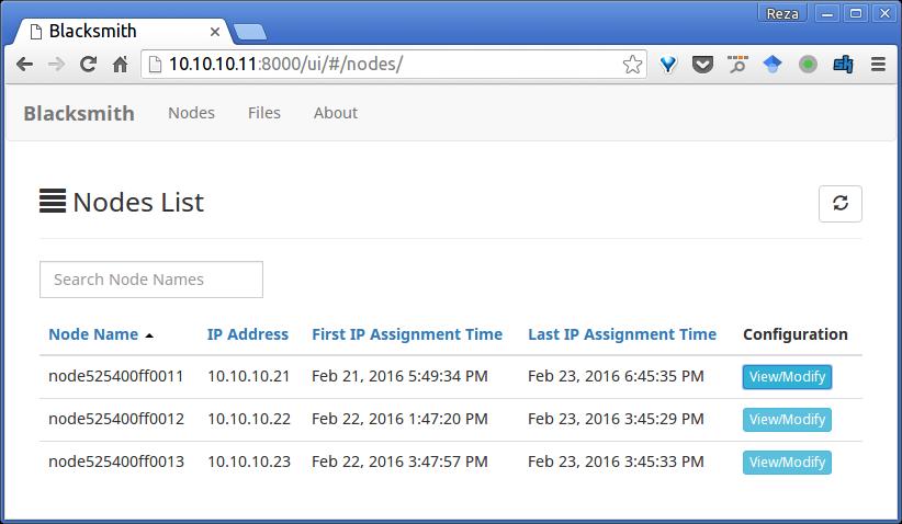 Screenshot of Nodes List page - Blacksmith