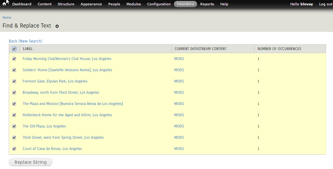 Islandora Find & Replace screenshot