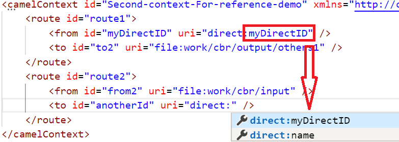 Reference ID completion for XML DSL