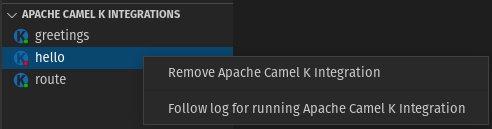 Apache Camel K Integrations view - Follow log