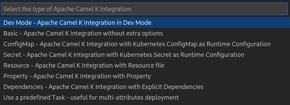Start Apache Camel K Integration - Dropdown options