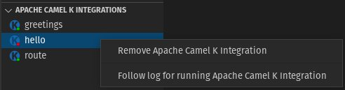 Apache Camel K Integrations view - Follow log