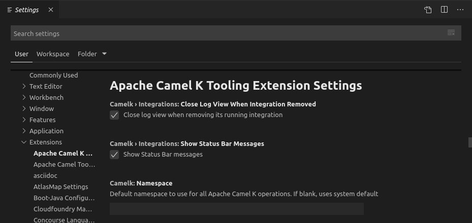 Camel-K integrations view Settings