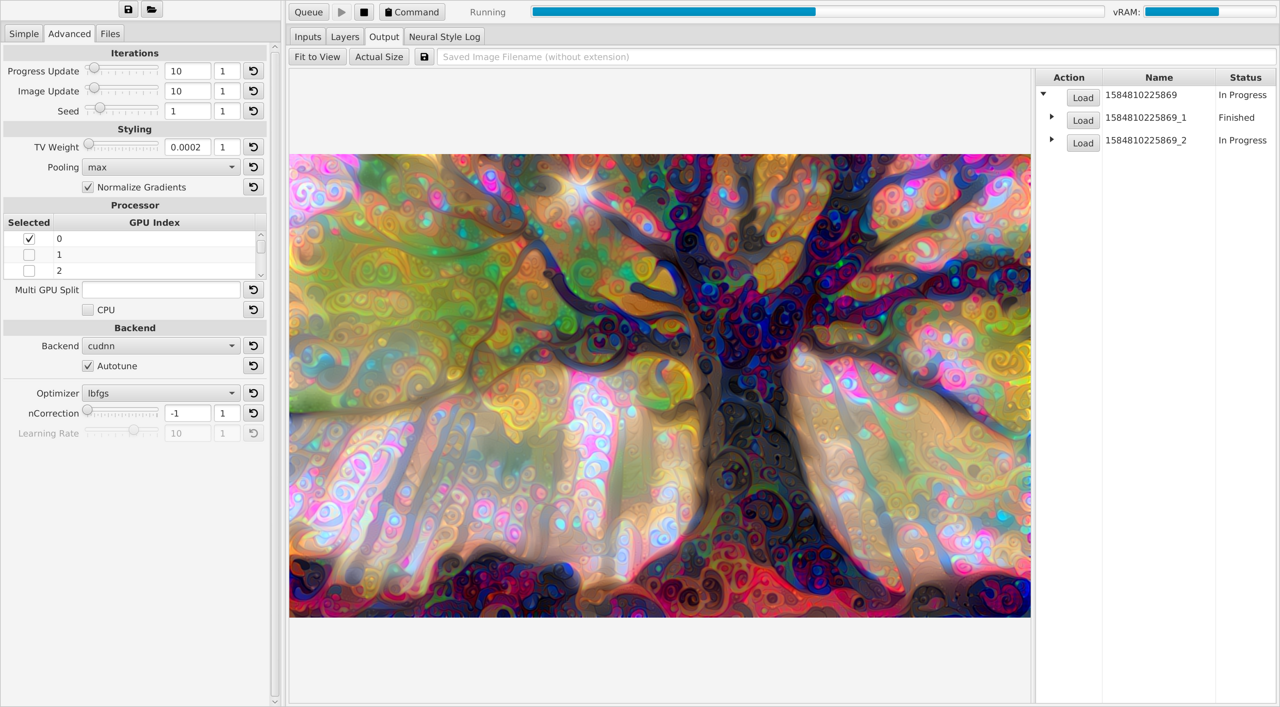 Output Tab of Neural-Style-GUI