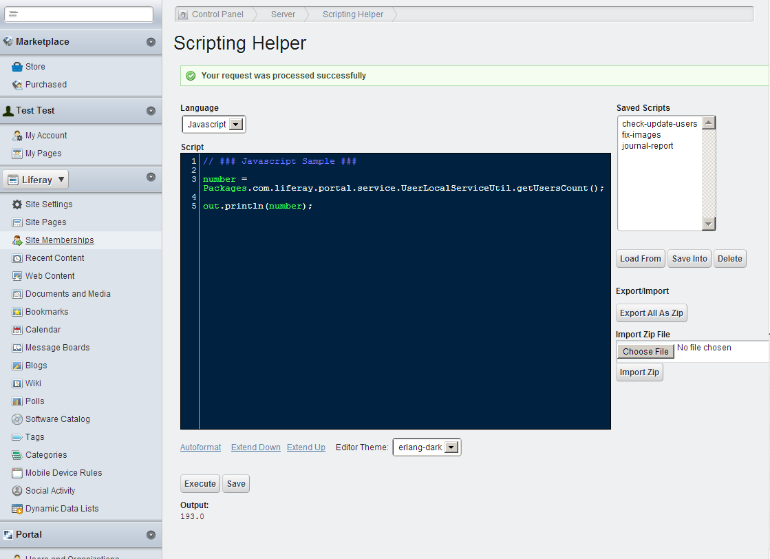 Scripting Helper Portlet