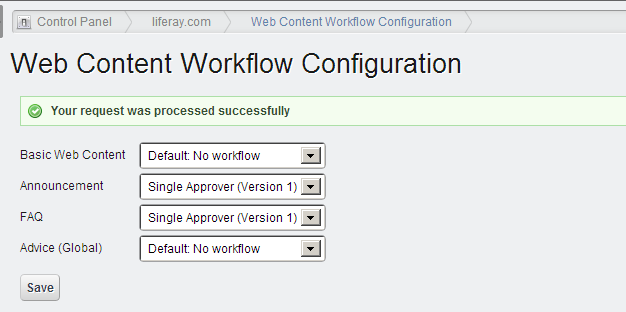 Web Content Workflow Configuration