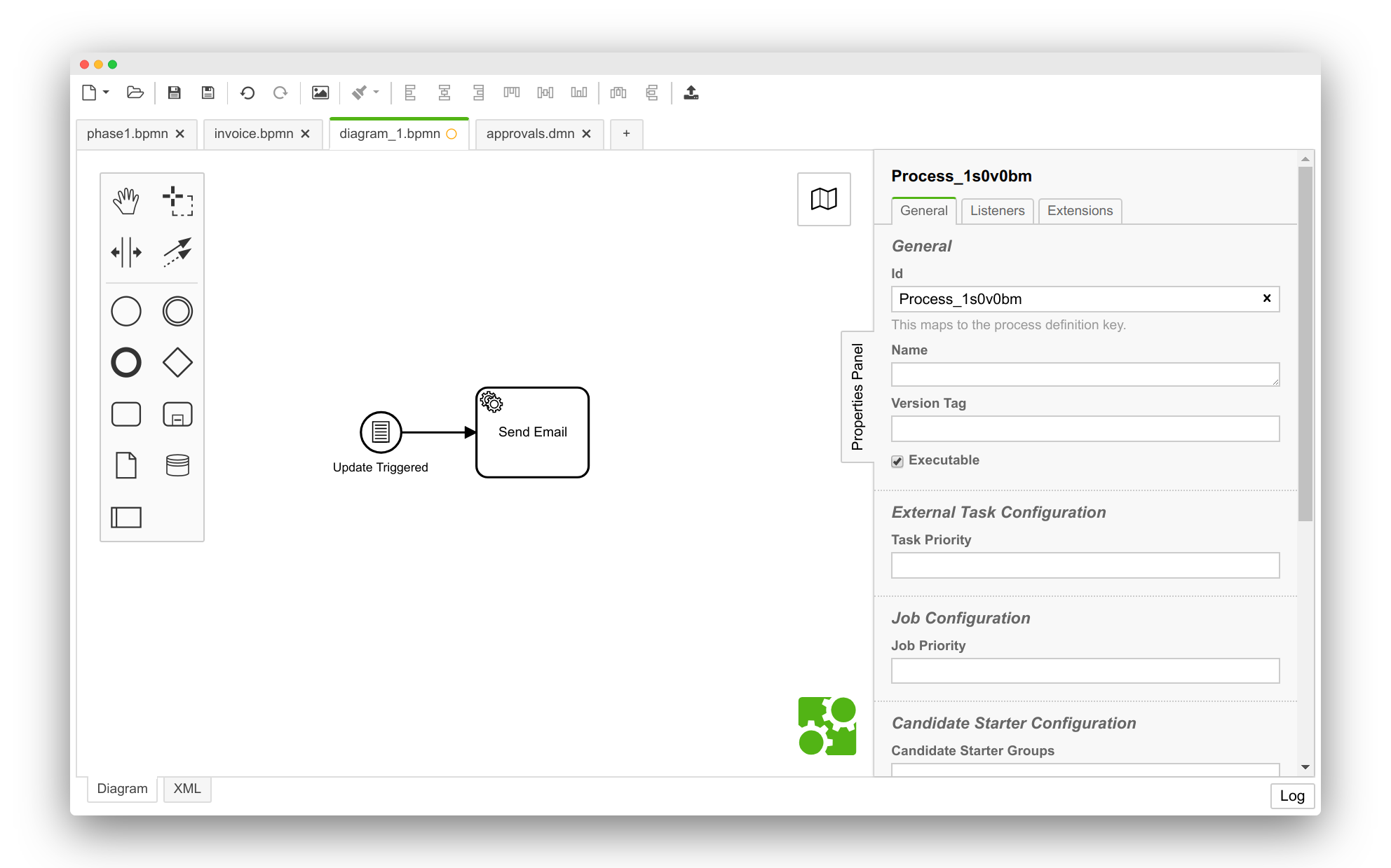 BPMN Editor with properties panel