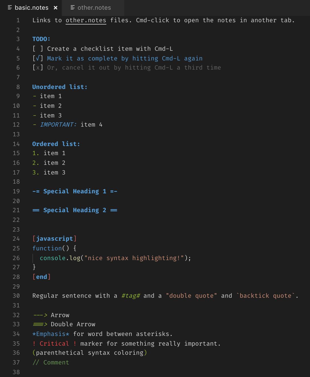 vscode notes sample