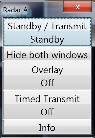 Radar menu (standby)