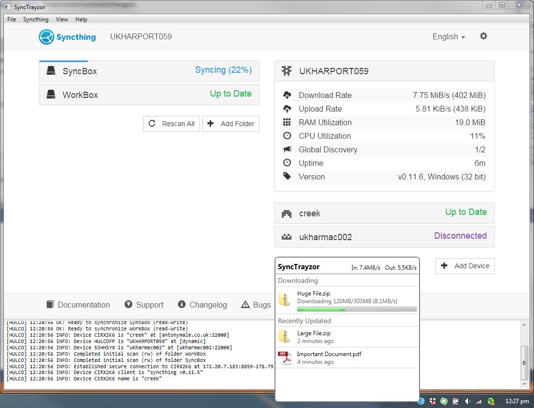 SyncTrayzor full screenshot