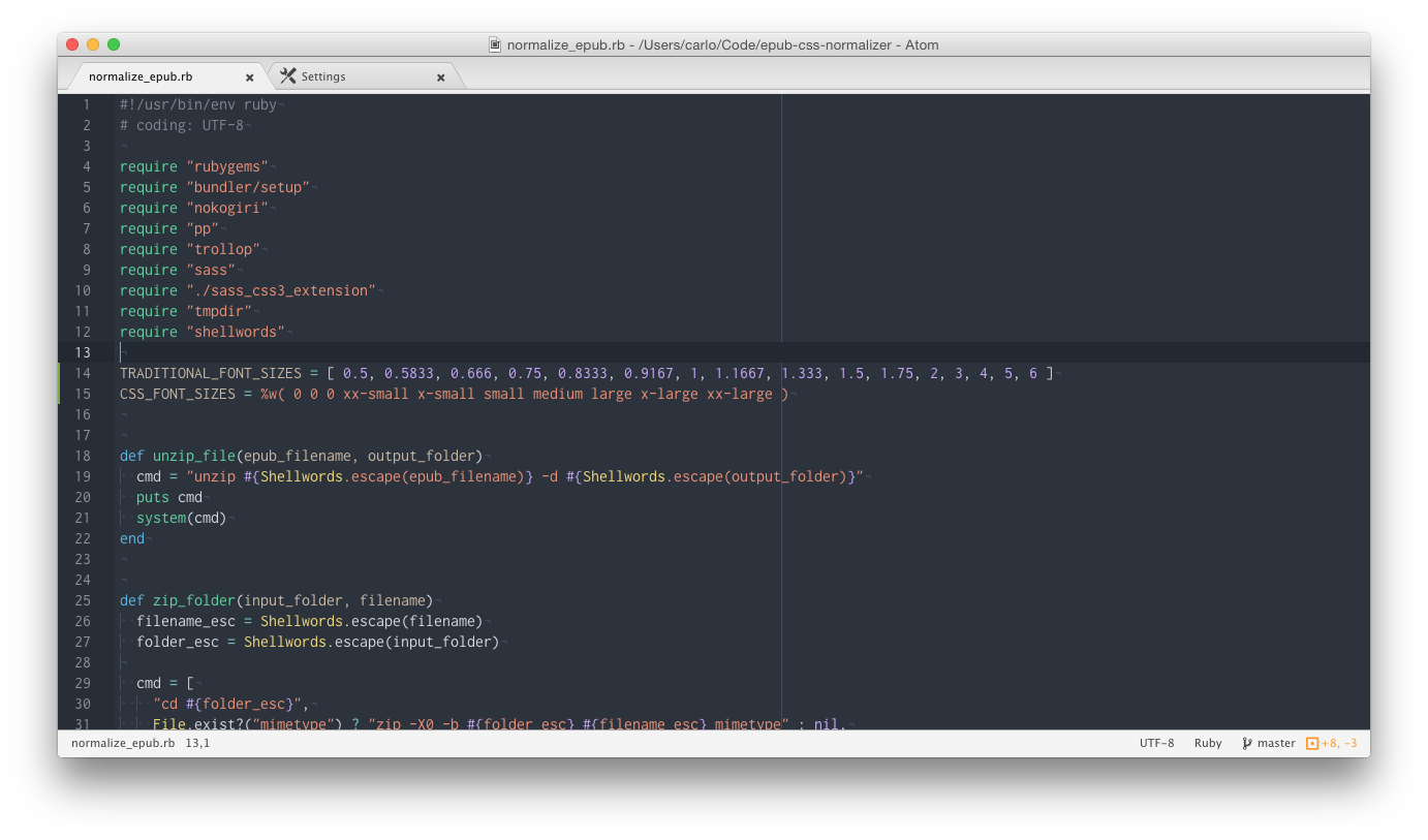 Screenshot of theme showing Ruby code