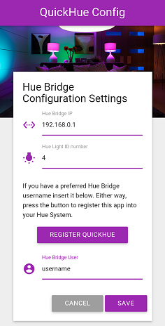 QuickHue for Pebble settings screenshot