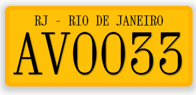 Brazil Two Letters Particular License Plate