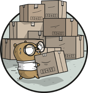 gopher carrying moving boxes